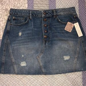 So cute! Free People We Are The Free denim skirt!
